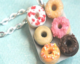 donut platter necklace- miniature food jewelry, donut necklace