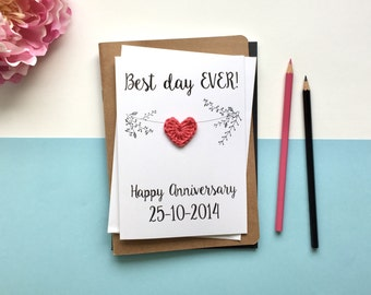 Anniversary card - Best day ever - card for wife - card for husband - wedding anniversary card - white card