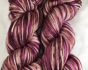 Hand-dyed Worsted Merino, Silk, Baby Alpaca - Wine and Chocolate