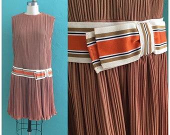 vintage 50's brown plisse dress // drop waist dress