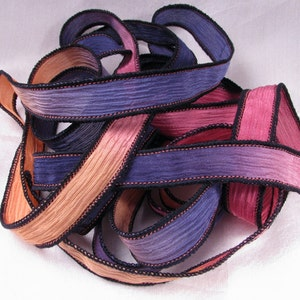 Hand Dyed Silk Ribbon - Hand Painted Crinkle Silk Jewelry Bracelet Fairy Ribbon - Quintessence - Flamingo Fields