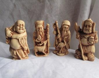 Set of 4 Oriental Deity Figures