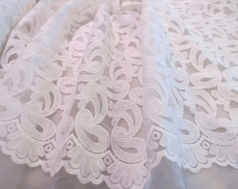 White on White Paisley Design Embroidered Polyester Organza Fabric--One Yard