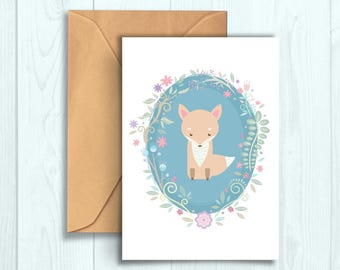 Fox & Flowers Greeting Card