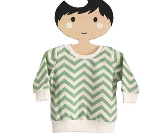 baby sweatshirt, baby top, relaxed top, birch organics, skinny chevrons, green jumper, gender neutral, baby clothes, new baby, gift idea