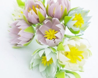 Miniature Polymer Clay Flowers Supplies Water Lily 12 stems