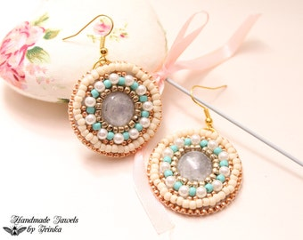 Soft colors, the bead embroidery earrings