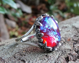 Silver Dragon's Breath Ring, Marquisette Ring, Fire Opal Ring, 925 Opal Ring, Fire Opal Jewelry, Sterling Silver Dragon's Breath Ring