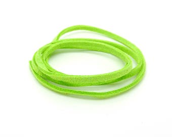 Suede, lace, green, neon, 3 mm