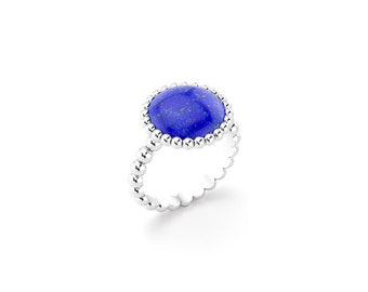 Lapis lazuli cabochon and silver Cocktail ring