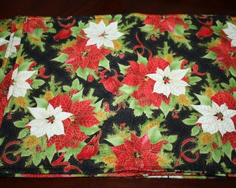 Vintage Style Holiday Christmas Placemats Poinsettia Cardianal Bird & Holly Fabric Placemats Set of 4