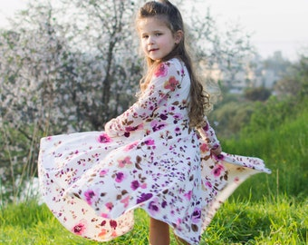Girls Floral Dress , Long Sleeve Girls Dresses, Girls Floral Dresses, Girls Dresses, Kids Clothing, Kids Outfit, Girls Twirling Dress