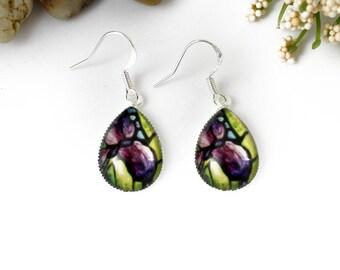 Purple Iris Earrings - Violet Iris Floral Jewelry - Purple Flower Earrings - Silver Earrings, Art Nouveau Art - Teardrop Earrings - Dangle