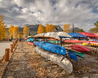 Colorado Boats, Lake and Mountain in the Fall