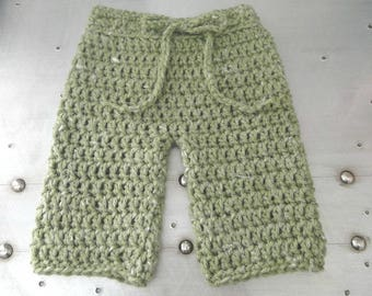 Newborn Baby Pants, Crochet Baby Pants, Up to 3 Months, Drawstring Baby Pants, Baby Clothes, Baby Photo Prop, Baby Shower Gift,  Baby Gift.