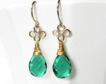 Green Drop Earring Emerald Green Quartz Drop Earring Green Briolette Earring Green Earring Gold Filled