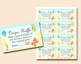 Diaper Raffle Ticket, Diaper Raffle Card, Diaper Raffle Printable, Diaper Raffle Sign, Raffle Insert, Under the Sea Baby Shower Cards TLC19