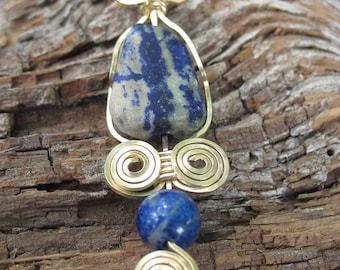 Lapis Lazuli, Sodalite, and Gold Filled Wire Wrapped Necklace