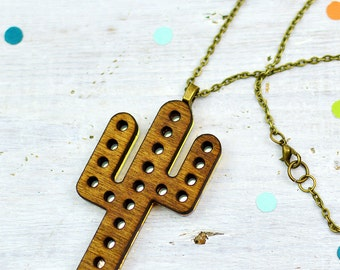 Cactus Necklace, Wooden Jewellery, Marquee Light Necklace, Marquee Sign, Mirrored Jewellery, Nickel Free