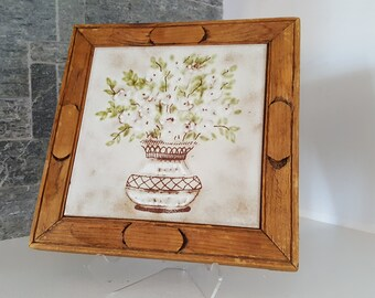 Vintage 1960s-1970s Ceramic and Wood Trivet - Hand Carved - Floral - Ceramica S. Marco - Rustic - Country Cottage - Hot Plate