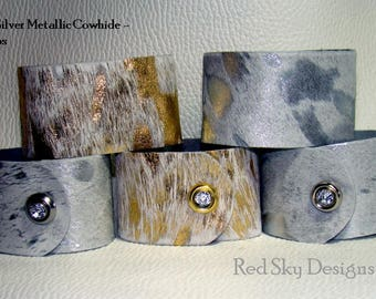 Cowhide Print Cuffs 12 Pack PREMIUM COWHIDE Gold Silver Metallic Acid Wash Cowhide Leather Bracelets Leather Jewelry Design Cowhide Jewelry