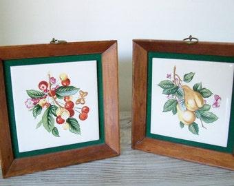 Vintage Ceramic Tile - Napco Ceramic Tile - Napcoware - Ceramic Tile Picture - Framed Ceramic Tile - Fruit Tile - Cherries - Pears - 1970s