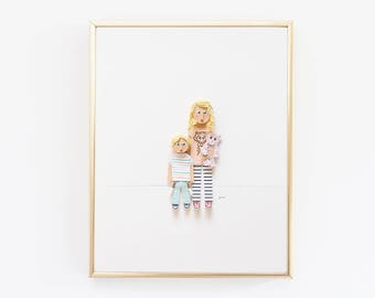 Custom portrait made from paper, gift for mom, mother's day gift, unique paper gift, paper keepsake, dimensional, back to school portrait.