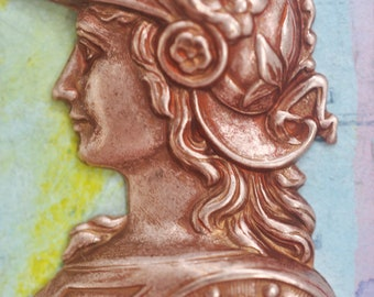 God Mercury, Hermes, Brass Stamping, Rose Gold Ox, Brass Stampings Made in the USA, Mythological Stampings