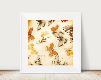 Pearl Butterfly Fine Art Print Instant Film Inspired Print--Home Decor Square Vintage Shirt Fall Autumn Orange Cream Creme Yellow Wholesale