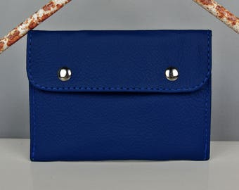 Royal Blue Leather Coin Purse