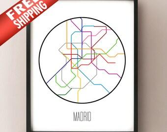 Madrid, Spain - Minimalist Metro Subway Art Print - Metro de Madrid