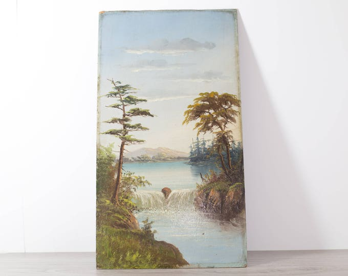 Original Antique Painting on Board / Sunrise or Sunset on River Lake / Trees Forest Canadiana Shore Nautical Artwork