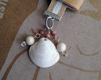 Seashell Bookmark Burlap Ribbon Beaded Beach Nautical Book Club Gift
