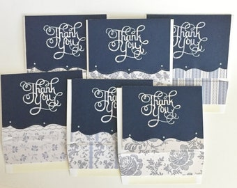 Handmade Thank You Cards.  Set of 6. Blank Cards.  Thank You.