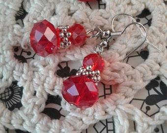 Red Crystal Earrings Victorian Earrings