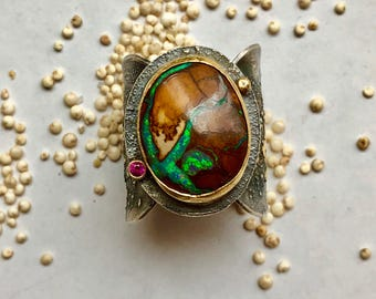 HOLD for Rachel: Beautiful artsy bolder opal ring, sterling silver, 22kt gold and ruby