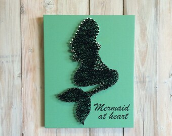 Mermaid String Art - Mermaid Decor - String Art - Mermaid Sign - Beach House Decor - Mermaid at Heart - Coastal Decor - Girls Room Decor