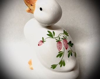 vintage ceramic duck made in Taiwan with hand painted strawberry design