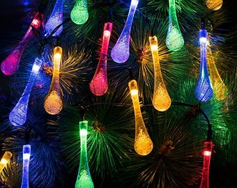 60 Solar Powered LED Water Drop Icicle Christmas Lights - 36 feet long - Multi-Color - USA Seller - Super Fast Shipping