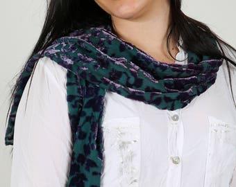 "Luxurious silk velvet fabric scarf hand dyed ""Night flower"""