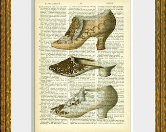 THREE FRENCH SHOES recycled book page art print - antique dictionary page with a French Fashion  illustration - home decor - vintage charm