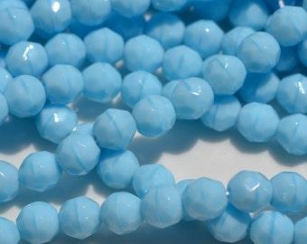 Sky Blue Coral Czech Glass 8mm Round Fire Polish Beads   25