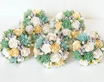 Bouquet de las damas de honor, suculento ramo, ramo de novia arcilla, aroma melocotón, conjunto, pequeño bouquet, ramo de flores de la arcilla, accesorios de boda
