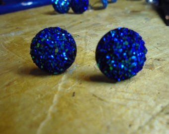 Glitter Blue Stud Earrings