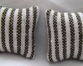 Green & White Stripes Print  Cushions   1/24th Scale