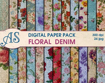 Digital  Floral Denim Paper Pack, 24 printable Digital Scrapbooking papers, Flowers Fabric Digital Collage, Instant Download, set 55