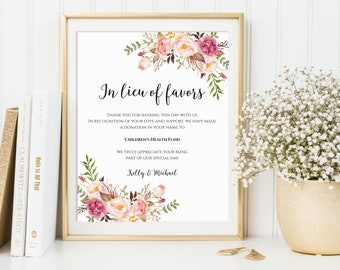 In Lieu of Favors Sign, Printable In Lieu of Favors Sign, Editable In Lieu of Favors Sign, Wedding Donation Sign, Wedding Favors Sign, C1