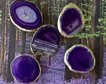 Large 18K Gold Edge Custom Eggplant Purple Agate Slice Drawer Pulls Knobs