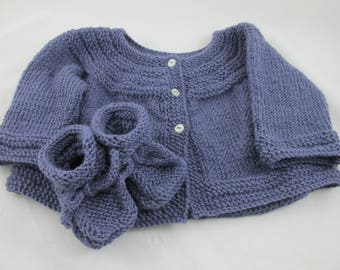 Purple Alpaca Baby Sweater Set