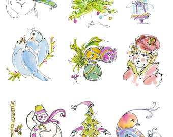"""CHRISTMAS CRAFTERS PAGE4... Clipart / Digital Download / 300 dpi/ hi resolution of Original Watercolor . 8""""x10"""" Great for any application."""